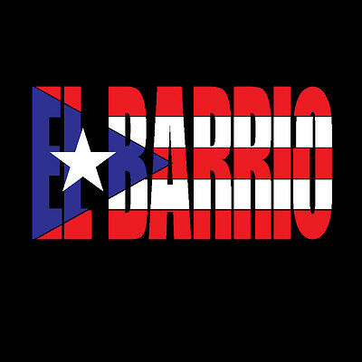 PUERTO RICO CAR DECAL STICKER EL BARRIO letters with Flag  #197