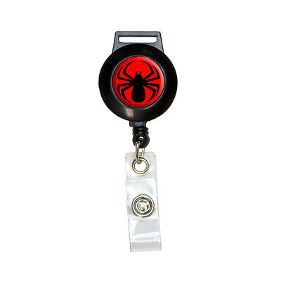 Spider Black on Red - Lanyard Retractable Reel Badge ID Card Holder