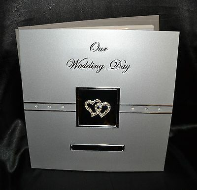 Photo Album - Our Wedding Day - Double Diamante Hearts -  Silver Aluminium