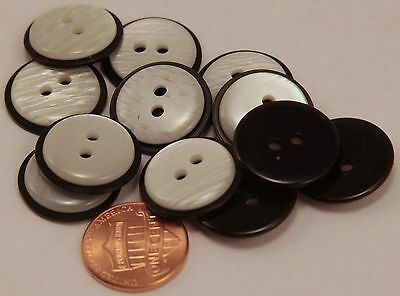 """12 Pearlized White and Black Plastic Buttons 3/4"""" 19MM # 6103"""