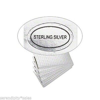 "100 Peel Off Adhesive Labels Tags ~ Oval 1/2"" x 5/16"" Marked ""STERLING SILVER"""