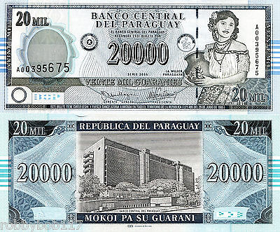 PARAGUAY 20000 Guaranies Banknote World Money Currency p225 S America BILL Note