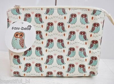 Make Up Cosmetic Toiletry Case Purse Bag Pencil Case Owl Cream Vintage Zip Lined