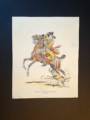 "Eugene Leliepvre ""Officer 44th Regiment of Foot 1755"" Lithograph J. Tily ca.1962"