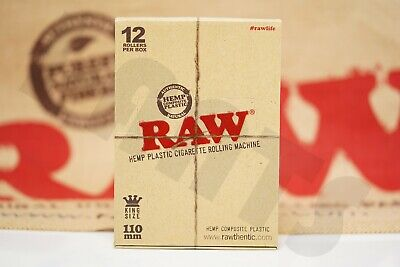 Full Box 12X Authentic Raw Hemp Rolling Paper Machines Hand Roller 110Mm