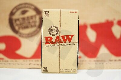 FULL BOX 12X AUTHENTIC RAW HEMP ROLLING PAPER MACHINES HAND ROLLER 79mm