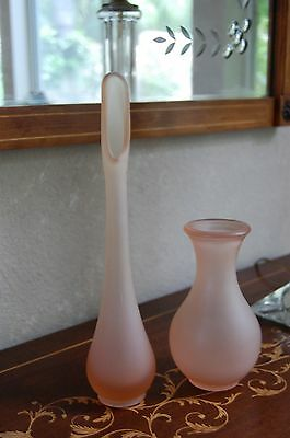 Vintage Viking Peach Frosted Bud Vase & Small Vase Art Glass/Original Stickers