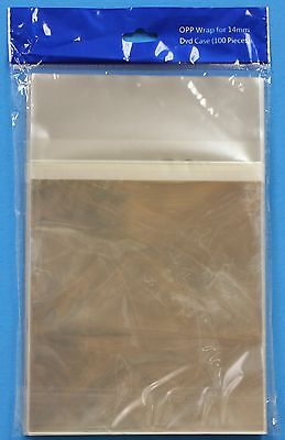 100 OPP14MM Resealable Bags for Dvd Cases 14mm Clear OPP