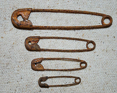 48 assorted Primitive RUSTY Safety Pins - These are RUSTY - 4 different sizes