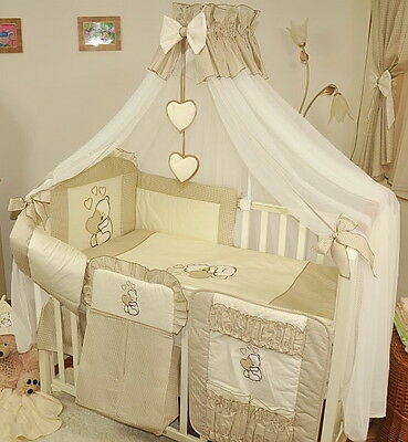 Luxury 10 pcs BABY BEDDING SET /BUMPER/canopy DRAPE/HOLDER  to fit COT 120x 60cm