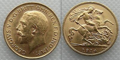 Nice Collectable Gold Half Sovereign 1914 coin - George V .. George / Dragon
