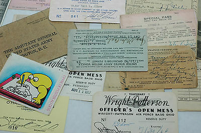Lot of 22 WWII Pieces of Ephemera Passes PayRecords Identifiaction ect.