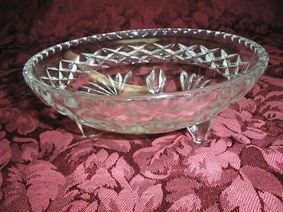 Fabulous Retro  Patterned Footed  Glass Dish  Bowl