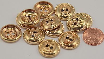 """12 Hollow Back Shiny Gold Tone Metal Buttons Nautical Anchor 3/4"""" 19MM # 6140"""