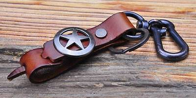 C11 Simply Cool Army Star Men's Leather Key Ring Keychain LIGHT BROWN