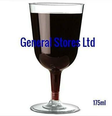 GSL 48 x Clear Plastic Disposable Party WINE Glass Glasses - 175ml