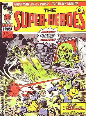 Marvel The Super-Heroes_#38_Marvel Comic_Dick Ayers_British Variant_1975_VG 4.0
