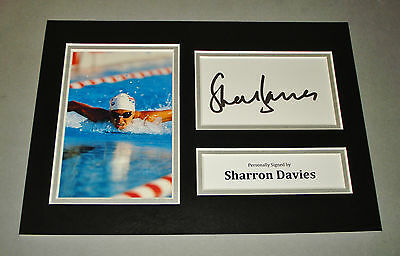 Sharron Davies Signed A4 Photo Display 400m Swimming Autograph Memorabilia + COA