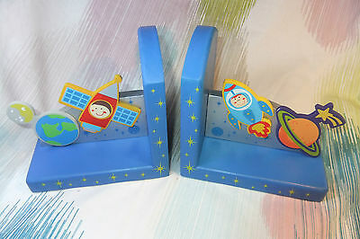 Kaper Kidz Children's Wooden Boy's Blue Space Themed Bookends! Baby Decor!