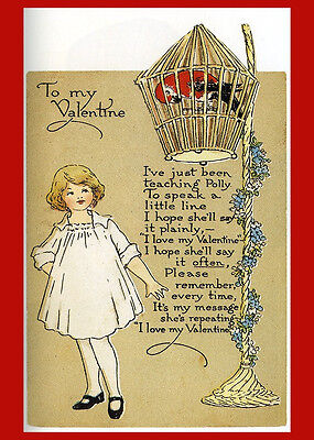 Vintage Valentine Postcard Poster Reproduction Parrot Polly Heart Be My 14x18New