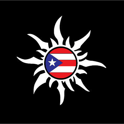 PUERTO RICO RICAN CAR DECAL STICKER SUN with PUERTO RICAN FLAG #21