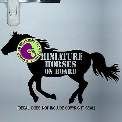 MINIATURE HORSES ON BOARD CAUTION Decal Sticker Horse Trailer Back Door Sign BL