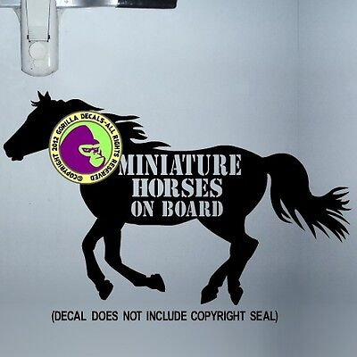 MINIATURE HORSES ON BOARD CAUTION Horse Trailer Back Door Sign Decal Sticker BL