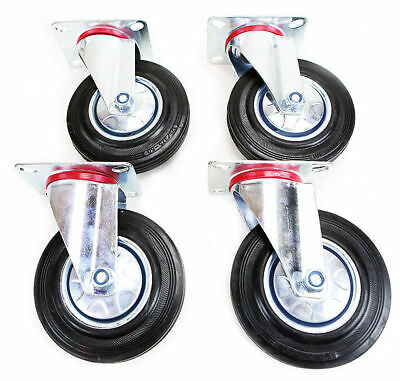 "4 pack 5"" Swivel Caster Wheels Rubber Base with Top Plate & Bearing Heavy Duty"