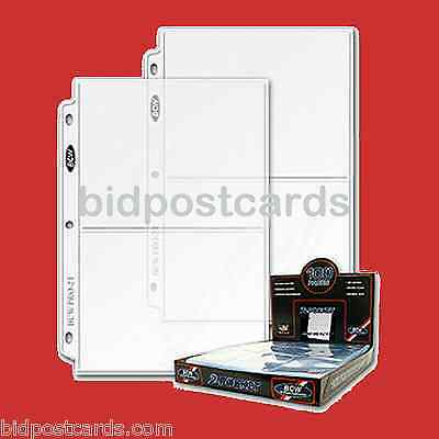 50 BCW 2-Pocket Archival Display Pages Sheets for 5x7 Cards Photos Album Refill