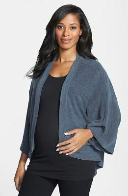 New Japanese Weekend Maternity Open Cardigan Gray Knit Winter Sweater S 6 8