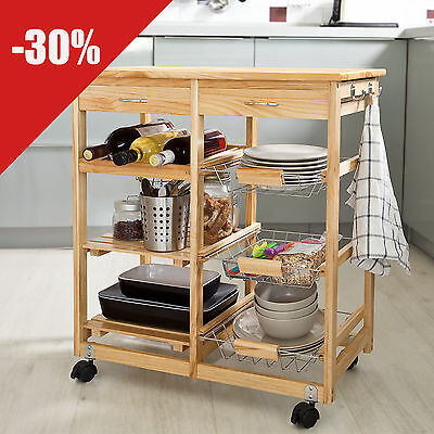SoBuy® Kitchen Cart, Kitchen Trolley with Shelves & Drawers, FKW04-N,Nature,UK