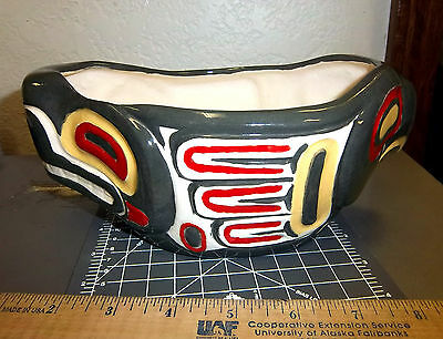 Alaska Tribal Eagle & Bear Ceramic Bowl, Awesome Collectible! unique item!