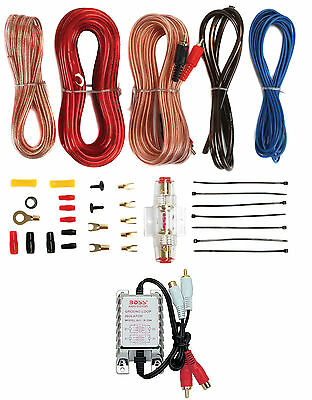 New 8 Gauge Ga Car Amplifier Amp Complete Kit Wiring Installation+Isolator