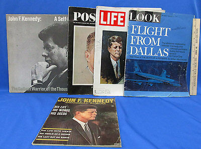 Vintage John F. Kennedy Life Look Post Magazine Gallant Warrior Record Lot of 5