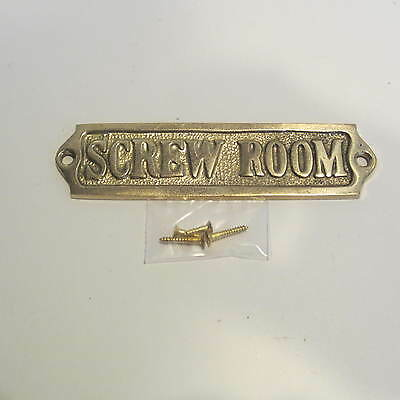 Solid Brass Door Sign-SCREW ROOM w/ hardware