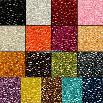 ABS Resin Round 4/6/8/10mm Loose Beads Pearl Spacer For Necklace Craft Making