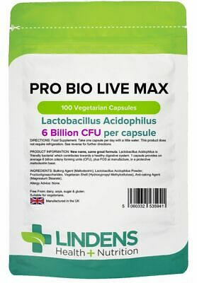 Pro Bio Live Max x 100 Capsules; 6 Billion CFU (Was Probiotic Max); Lindens