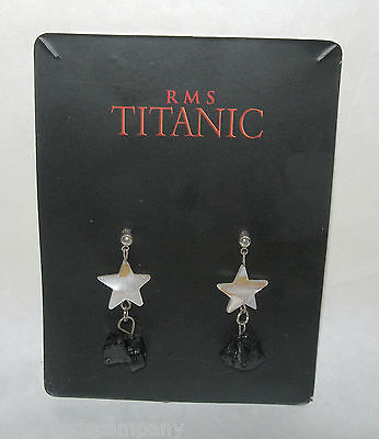 Authentic  RMS Titanic Coal Artifact Jewelry  Star Dangle Earrings with COA
