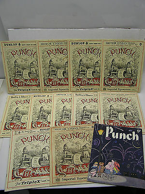 Late 1940s-1950s PUNCH  UK Vintage  Magazine Lot of 12 Issues (BLB-271)