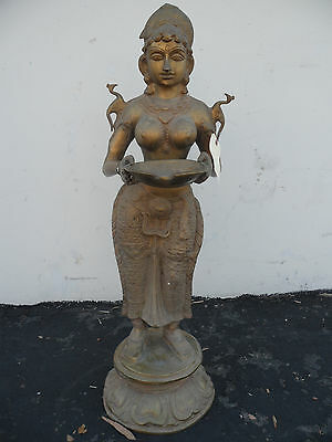 "Brass 37.5"" Statue Deep Lakshmi Goddess of Fertility, Abundance & Well being"