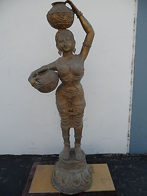 "Pari Brass 63"" Statue Devi Hindu Goddess Carrying Water Jugs Large 145 Lbs."
