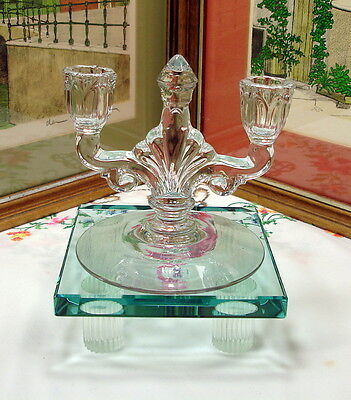 """HEISEY CRYSTAL DOUBLE LIGHT TRIDENT PATTERN 5 1/2"""" CANDLE HOLDER 1929-1957"""