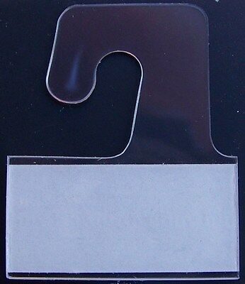 100 Clear Plastic Self Adhesive Stick Hook Hang Tabs Tag Hanger * 24 Oz * Limit