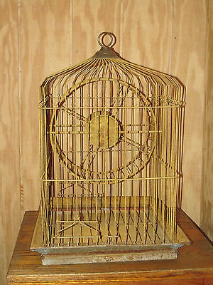 Large Antique Bird or Squirrel Cage in Yellow Paint