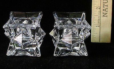 Set of 2 Pair Glass Star Shaped Candle Candlestick Taper Holders