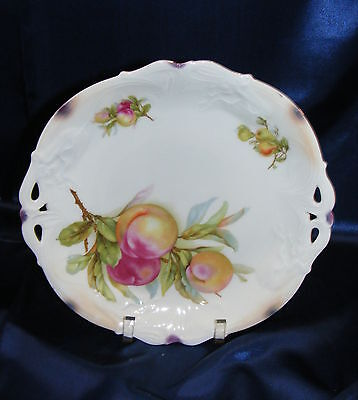 "Vintage Porcelain 10 7/8"" Plate Unmarked Prussia Fruit Design Pierced Handle"