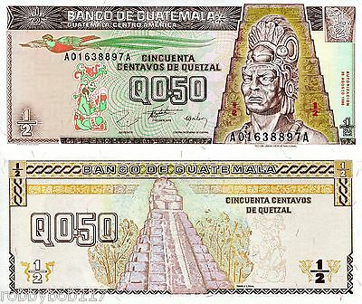 GUATEMALA ½ Quetzal Banknote World Money Currency Central America Bill p96 Note