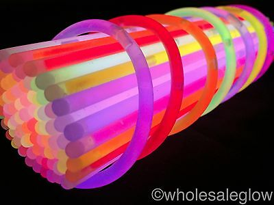 "Wholesale 8"" Glow Sticks Glow Bracelets Neon Glowsticks Bulk Glo Sticks x 500"