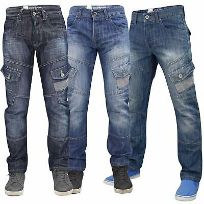 Mens Crosshatch Jeans Cargo Combat Corona Regular Fit Denim Pants Trouser