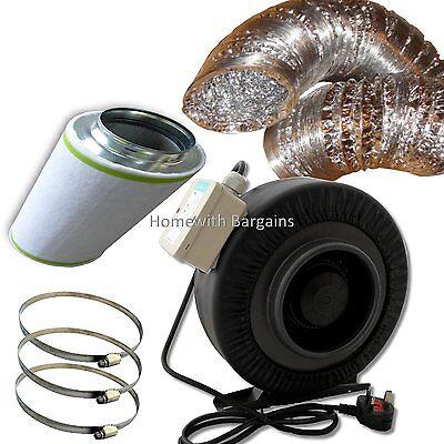 "4"" (100mm) Air Odour Control Kit, Metal Extractor Fan Lge Carbon Filter Ducting"